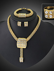cheap -Crystal Jewelry Set Pendant Necklace Adjustable Ring Statement Ladies Vintage Party Work Casual Earrings Jewelry Gold For Party
