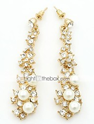 cheap -Women's Crystal Stud Earrings Dangling Dangle Ladies European Fashion 18K Gold Plated Rhinestone Gold Plated Earrings Jewelry Gold For Wedding Masquerade Engagement Party Prom / Imitation Diamond