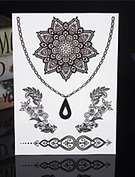 cheap -4PCS Tatouage Black Temporary Tattoo Sticker Taty Body Tatoo Metal Tatoos Fake Tattoo Tatto Lace Wedding Tattoos