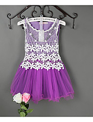 cheap -Girls' Lace Jacquard Sleeveless Regular Regular Dress Purple