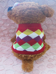 cheap -Dog Sweater Dog Clothes Grid Mixed Material Costume For Winter