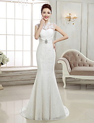 cheap -Mermaid / Trumpet High Neck Sweep / Brush Train Lace Cap Sleeve Sexy Illusion Detail / Backless Wedding Dresses with Beading / Appliques 2020