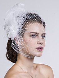 cheap -Feather / Fabric / Net Headwear / Birdcage Veils with Floral 1pc Wedding / Special Occasion / Casual Headpiece