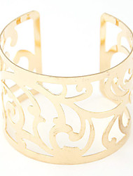 cheap -Women's Cuff Bracelet Wide Bangle Hollow Flower Ladies European Fashion Open Alloy Bracelet Jewelry Silver / Golden For Christmas Gifts Party Daily Casual