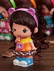 Недорогие -мини девочка фигура куклы копилка пластиковые деньги коробка (случайный цвет)