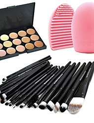 cheap -Professional Makeup Brushes Makeup Brush Set 20pcs Portable Travel Eco-friendly Professional Full Coverage Goat Hair Makeup Brushes for Eyeliner Brush Blush Brush Lip 15 Colors concealer Palette