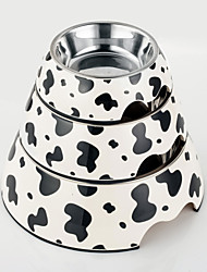cheap -High Quality Cow  Print Melamine Bowl with Stainless Steel Dish for Cat and Dogs (Assorted Sizes)