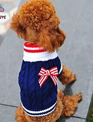 cheap -Cat Dog Sweater Winter Dog Clothes Red Blue Costume Polar Fleece Cotton Bowknot Cosplay Wedding XXS XS S M L
