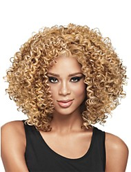 cheap -Synthetic Wig Curly Curly Wig Blonde Medium Length Light Brown Synthetic Hair Women's African American Wig Glueless Blonde StrongBeauty