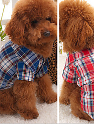 cheap -Dog Sweater Shirt Dog Clothes Plaid / Check Red Blue Cotton Costume For Spring &  Fall Cosplay Wedding