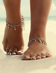 cheap -Anklet Barefoot Sandals Unique Design Tassel Vintage Women's Body Jewelry For Daily Casual Alloy Drop Flower Silver