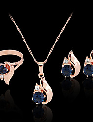 cheap -Synthetic Diamond Jewelry Set Stud Earrings Pendant Necklace Ladies Party Work Fashion Colorful Zircon Cubic Zirconia Imitation Diamond Earrings Jewelry Rose Gold For Party Special Occasion