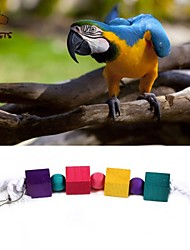 cheap -FUN OF PETS®Colorful Rope Wooden Square Chewing Lot with Beads for Birds