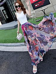cheap -Women's Daily / Beach A Line Skirts - Floral Jacquard / Print Purple