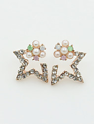 cheap -Women's Crystal Stud Earrings Ladies European Fashion Pearl Imitation Pearl Rhinestone Earrings Jewelry Gold / Silver For / Gold Plated / 18K Gold / Imitation Diamond / Austria Crystal