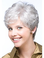 cheap -Synthetic Wig Curly Kardashian Curly Pixie Cut With Bangs Wig Short Grey Synthetic Hair Women's Side Part Glueless White StrongBeauty