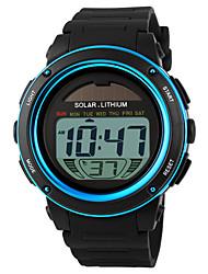Недорогие -SKMEI Муж. Спортивные часы Наручные часы электронные часы Солнечная энергия Цифровой Pезина Черный 30 m Защита от влаги Будильник Календарь Цифровой Синий Золотой Два года Срок службы батареи