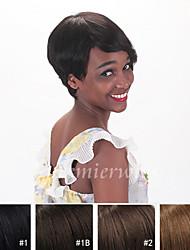 abordables -Cheveux humains Perruque Droit Droite Fabriqué à la machine Noir 15 CM