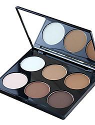 abordables -6 couleurs Poudres Miroir à maquillage 1 pcs Sec / Mat / Lueur Blanchiment / Couverture / Longue Durée Visage Maquillage Cosmétique