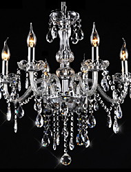 "cheap -6-Light 55(21.7"") Crystal Chandelier Crystal Glass Candle-style Electroplated Traditional / Classic 110-120V / 220-240V"
