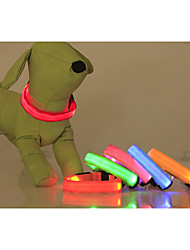 cheap -Cat Dog Collar LED Lights Adjustable / Retractable Solid Colored Nylon Green Blue Pink