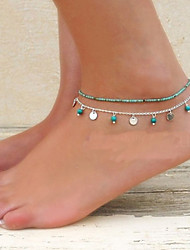 cheap -Anklet Barefoot Sandals Ladies Unique Design Bikini Women's Body Jewelry For Party Daily Double Turquoise Turquoise Alloy