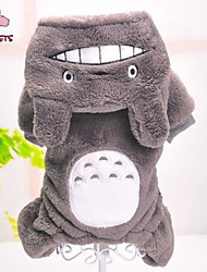 cheap -Dog Jumpsuit Pajamas Winter Dog Clothes Gray Costume Polar Fleece Cartoon Casual / Daily XXS XS S M L