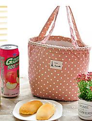 Недорогие -горошек холст тепловой изоляцией ланч бокс тотализатор сумка-холодильник для пикника мешок (случайный цвет)