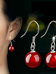 cheap -Women's Agate Drop Earrings Sterling Silver Earrings Jewelry Black / Red For Wedding Party Daily Casual