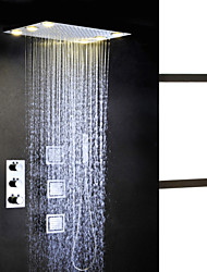 cheap -Shower Faucet Set - Handshower Included Thermostatic LED Contemporary Chrome Brass Valve Bath Shower Mixer Taps