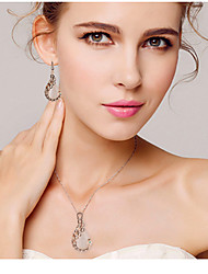cheap -Women's Crystal Jewelry Set Drop Earrings Pendant Necklace Peacock Ladies Party Elegant Bridal Festival / Holiday Cubic Zirconia Rose Gold Plated Imitation Diamond Earrings Jewelry Gold For Party