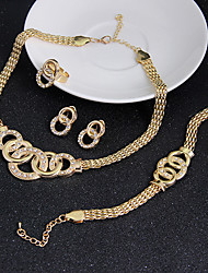 cheap -Women's Cubic Zirconia Jewelry Set Pendant Necklace Earrings Circle Interlocking Circle Statement Ladies Vintage Party Work Casual Cubic Zirconia Earrings Jewelry Gold For Wedding Party Special