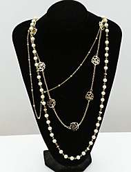 cheap -Women's Crystal Statement Necklace Pearl Strands Long Necklace Lotus Ladies European Fashion 18K Gold Plated Pearl Rhinestone Gold Necklace Jewelry For / Imitation Diamond / Austria Crystal