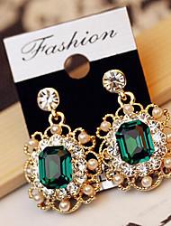 cheap -Women's Crystal Drop Earrings Dangling Dangle Ladies Luxury Fashion Pearl Imitation Diamond Earrings Jewelry White / Gray / Green For