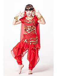 cheap -Belly Dance Outfits Performance Chiffon / Sequined Beading / Sequin / Gold Coin Short Sleeves Natural Top / Pants / Belt