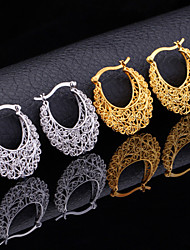 cheap -Women's Hoop Earrings Earrings Hollow Out Flower Ladies Vintage Party Work Casual Carved Earrings Jewelry Gold / Silver For Party Anniversary Birthday Gift