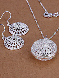 cheap -Lucky Doll Women's All Matching Luxury Gem Silver Plated Cut Out Necklace & Earrings Suit