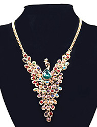 cheap -Women's Synthetic Diamond Pendant Necklace Statement Necklace Peacock Dainty Statement Ladies European Rhinestone Alloy Screen Color Necklace Jewelry For