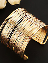 cheap -Women's Cuff Bracelet Wide Bangle Layered Hollow Ladies Unique Design Vintage Party European Alloy Bracelet Jewelry Gold / Golden 2 / Silver 2 For Party Daily