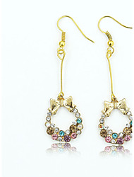 cheap -Women's Crystal Drop Earrings Dangling Dangle Circle Ladies European Fashion 18K Gold Plated Rhinestone Gold Plated Earrings Jewelry Gold For / Imitation Diamond / Austria Crystal
