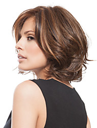 cheap -Synthetic Wig Wavy Wavy Bob Layered Haircut Side Part Wig Short Brown Synthetic Hair Women's Fashion With Bangs Brown StrongBeauty