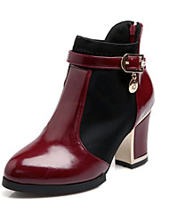 cheap -Women's Block Heel Boots Chunky Heel Zipper Patent Leather 5.08-10.16 cm / 15.24-20.32 cm / Booties / Ankle Boots Fall / Winter White / Black / Burgundy