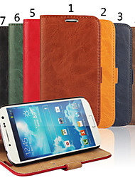 cheap -Case For Samsung Galaxy S4 Wallet / Card Holder / with Stand Full Body Cases Solid Colored Genuine Leather