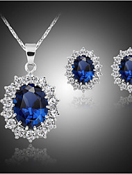 cheap -Synthetic Sapphire Jewelry Set Stud Earrings Pendant Necklace Oval Cut Ladies Luxury Party Plaited Cubic Zirconia Silver Plated Imitation Diamond Earrings Jewelry Blue For Party Birthday Engagement