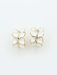 cheap -Women's Crystal Stud Earrings Ladies European Fashion 18K Gold Plated Rhinestone Gold Plated Earrings Jewelry White / Black For / Imitation Diamond / Austria Crystal