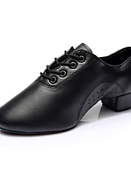 cheap -Men's Latin Shoes Ballroom Shoes Salsa Shoes Heel Split Sole Lace-up Chunky Heel Black Lace-up
