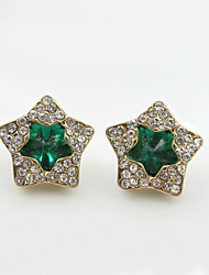 cheap -Women's Crystal Stud Earrings European Fashion 18K Gold Plated Rhinestone Gold Plated Earrings Jewelry Black / Green / Blue For / Imitation Diamond / Austria Crystal