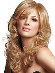 cheap -Human Hair Blend Wig Wavy Wavy Capless Dark Auburn#33 Light Auburn Light Brown 24 inch