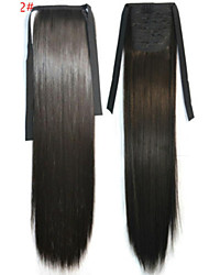 cheap -Straight Synthetic Hair Piece Hair Extension 18 inch Dark Brown