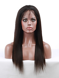 cheap -Human Hair Unprocessed Human Hair Lace Front Wig style Brazilian Hair Straight Wig 130% Density with Baby Hair Natural Hairline African American Wig 100% Hand Tied Women's Short Medium Length Long